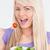 gülümseyen · kadın · yeme · taze · salata · çekici · genç · kadın - stok fotoğraf © wavebreak_media