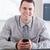 sorridente · empresário · telefone · trabalhar - foto stock © wavebreak_media