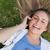 jeune · fille · Retour · rire · parler · téléphone · portable · téléphone - photo stock © wavebreak_media