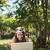 nő · laptopot · használ · kint · nyár · vidék · számítógép - stock fotó © wavebreak_media