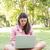 nő · laptop · kint · nyár · üzlet · fű - stock fotó © wavebreak_media