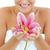 ярко · женщину · цветок · улыбающаяся · женщина · белый - Сток-фото © wavebreak_media