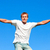 portrait of a mature man jumping in the air outdoor against a blue sky background stock photo © wavebreak_media