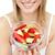 mulher · salada · de · frutas · branco · foco - foto stock © wavebreak_media