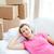 pensieroso · donna · rilassante · divano · scatole · home - foto d'archivio © wavebreak_media