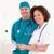 sonriendo · enfermera · cirujano · azul · hospital - foto stock © wavebreak_media