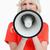 femme · regarder · bouleversé · parler · mégaphone · blanche - photo stock © wavebreak_media