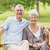 romántica · ancianos · Pareja · sesión · junto · banco - foto stock © wavebreak_media