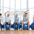 class sitting on exercise balls and stretching hands in gym stock photo © wavebreak_media