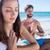 jóga · pár · megnyugtató · meditáció · tengerpart · sziluettek - stock fotó © wavebreak_media