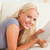 mulher · livro · sala · de · estar · sorrir · casa - foto stock © wavebreak_media