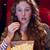 genç · şaşırmış · kadın · yeme · patlamış · mısır · gri - stok fotoğraf © wavebreak_media