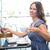 かなり · 笑みを浮かべて · ビジネス女性 · ラップトップを使用して · レストラン · 小さな - ストックフォト © wavebreak_media