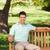 przystojny · mężczyzna · ławce · człowiek · lata · zielone · parku - zdjęcia stock © wavebreak_media