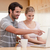 пару · ноутбук · кофе · кухне · улыбка · интернет - Сток-фото © wavebreak_media