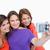 três · belo · adolescentes · em · pé · lado · feliz - foto stock © wavebreak_media