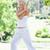 gülen · genç · kadın · park · spor · güzellik · yaz - stok fotoğraf © wavebreak_media