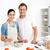 portret · szczęśliwy · para · sos · bolognese · wraz · kuchnia - zdjęcia stock © wavebreak_media
