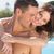 romantic woman embracing man by swimming pool stock photo © wavebreak_media