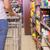 nő · toló · bevásárlókocsi · visel · mikulás · jelmez - stock fotó © wavebreak_media