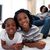 glimlachend · kinderen · tekening · vloer · woonkamer · huis - stockfoto © wavebreak_media