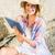 femme · séance · plage · brunette - photo stock © wavebreak_media