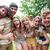 boldog · barátok · dob · por · festék · nyár - stock fotó © wavebreak_media