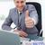 счастливым · бизнесмен · столе · большой · палец · руки · вверх · бизнеса - Сток-фото © wavebreak_media