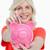 banku · piggy · Dolar · zauważa · młoda · kobieta · biały · ręce - zdjęcia stock © wavebreak_media