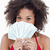 brunette woman hiding her face behind a fan of notes against a white background stock photo © wavebreak_media