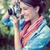 молодой · брюнетка · красоту · портрет · макияж · цветок - Сток-фото © wavebreak_media
