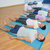 class resting on mats in row at yoga class stock photo © wavebreak_media