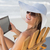 женщину · цифровой · таблетка · палуба · Председатель · расслабляющая - Сток-фото © wavebreak_media
