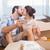 szeretet · pár · csók · új · otthon · fiatal · pér · festmény - stock fotó © wavebreak_media