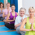 women meditating with hands joined during fitness class stock photo © wavebreak_media