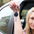 kilátás · fiatal · nő · ül · új · autó · tart · kulcs - stock fotó © wavebreak_media