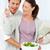 mooie · vrouw · tomaat · vriendje · salade · keuken · liefde - stockfoto © wavebreak_media