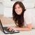 mooie · brunette · vrouw · ontspannen · laptop · tapijt - stockfoto © wavebreak_media
