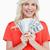 młodych · atrakcyjna · kobieta · Dolar · zauważa · fan - zdjęcia stock © wavebreak_media