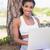 fit woman sitting against tree using laptop stock photo © wavebreak_media