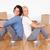 çift · oturma · zemin · kutuları · kadın · ev - stok fotoğraf © wavebreak_media