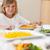 erkek · oturma · yemek · masası · salata · gülen · mutluluk - stok fotoğraf © wavebreak_media