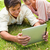 zwei · Freunde · lächelnd · ansehen · etwas · Tablet - stock foto © wavebreak_media