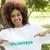 portre · mutlu · kadın · gönüllü · işaret · yardım - stok fotoğraf © wavebreak_media