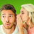 composite image of attractive blonde whispering secret to boyfri stock photo © wavebreak_media