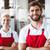 dos · sonriendo · cámara · Servicio · negocios · alimentos - foto stock © wavebreak_media