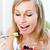 piękna · kobieta · jedzenie · sałatka · owocowa · domu · żywności · szczęśliwy - zdjęcia stock © wavebreak_media