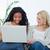 kettő · megrémült · nők · laptopot · használ · izolált · fehér - stock fotó © wavebreak_media