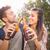 paar · twee · groene · bier · flessen · vergadering - stockfoto © wavebreak_media