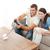 внимательный · пару · играет · видеоигра · вместе · гостиной - Сток-фото © wavebreak_media